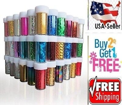 60 Colors Nail Art Stickers Tips Wraps Transfer Foil *US SELLER* BUY2GET1FREE -B