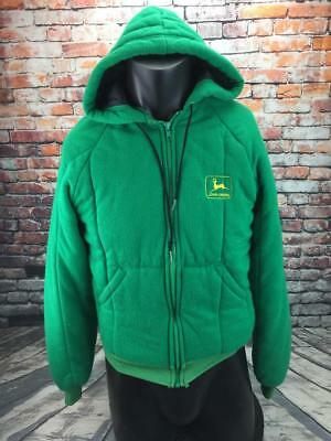 John Deere vintage green hooded jacket mens size small full zip made in USA