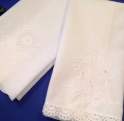 2 x  White Cotton - Embroidered Guest Hand Towels / Tray Cloths