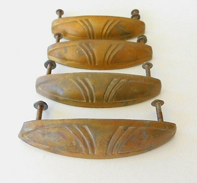 Vintage Antique Brass Drawer Pulls Handles Cabinet Hardware Dresser Art Deco - 4