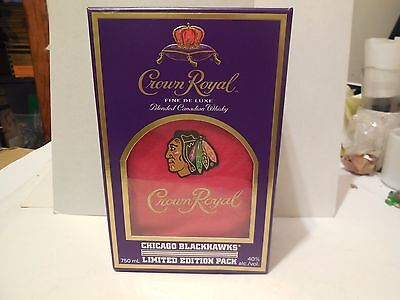 Crown Royal Limited Edition Chicago Blackhawks Red Bag And Box New Rare
