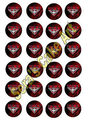 Essendon Bombers Cupcake Topper AFL Footy football club Birthday bachelor party