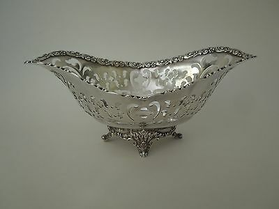 1903 - Ornate Tiffany Sterling Silver Reticulated Basket - Dish - Bowl  Antique
