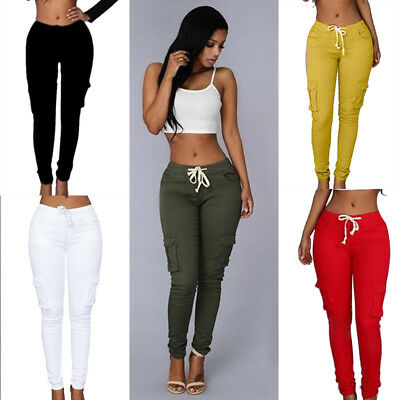 Women Casual Mul-pocket Jeans Pants High Waist Stretch Slim Pencil Trousers