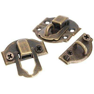 Dophee 10pcs Latches Antique Brass Decorative Hasp Jewelry Wooden Box Lock With