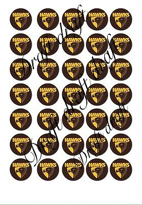 35 X Hawthorn Hawks Cupcake Topper AFL Topper Footy birthday bachelor party