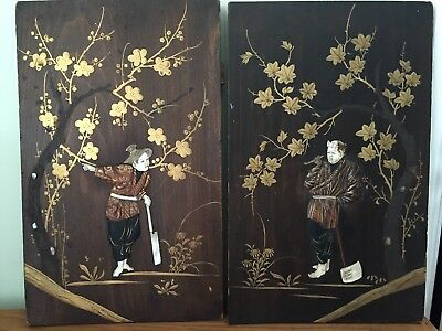 Pair of Antique Japanese Meji Wood Carved Wall Plaques Hand painted Inlay Pearl