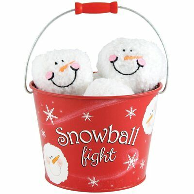 Youngs Indoor Winter Snowball Fight In A Bucket 6 Plush Balls Red Tin