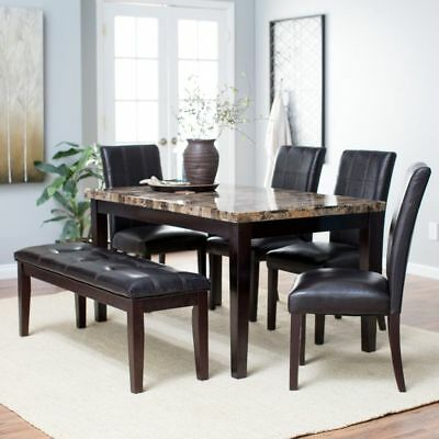 Dining Room Set Table Chairs Bench Kitchen Furniture Leather 6 Piece Dinette