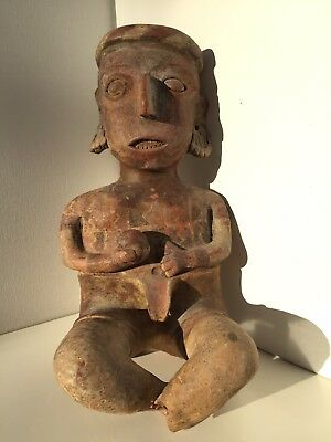Pre-Columbian Hollow Nayarit Seated Male Figure Ballplayer circa 250 BC - 200 AD