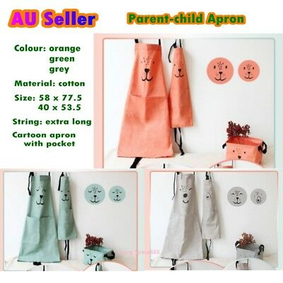 Parent Child Apron Cartoon Cotton Kitchen Cooking Bake Cloth Australian Seller