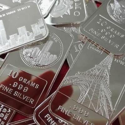 10 Gram .999 Fine Solid Silver Bullion Art-bar:  1 - Random pick from Inventory