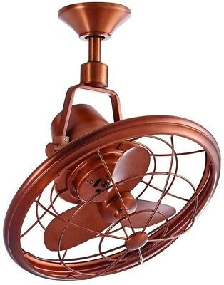 Indoor Outdoor Weathered Copper Caged Oscillating Ceiling Commercial Fan