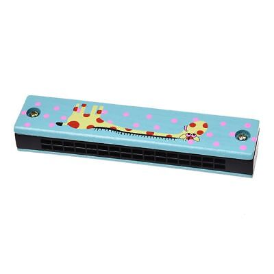 Wooden giraffe pattern dual series 32 hole harmonica child blue S8Q8