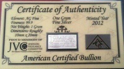 ACB SILVER Ingot 1 Gram solid Bar .999 Fine AG w/Certificate of Authenticity's