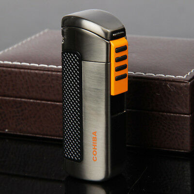 COHIBA Black Yellow Plastic Wrapped 3 Torch Jet Flame Cigar Lighter W/ Punch