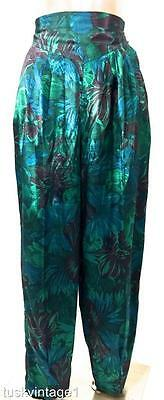 VINTAGE GREEN multi BOLD FLORAL high waisted THAI SILK tapered baggy PANTS 10