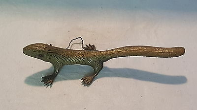 Cold painted bronze vintage Victorian antique wall hanging lizard ornament A