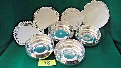 JOB LOT of 4 Antique,silver WINE COASTERS with linen,hallmarked 900 & 925.(48)