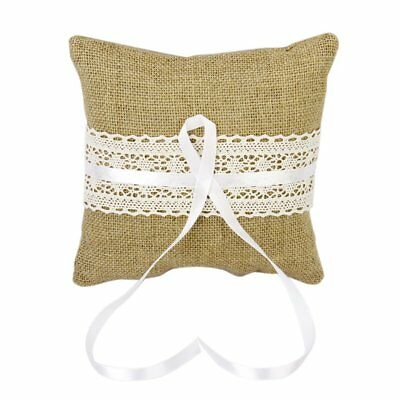 Vintage Jute Bow Rustic Wedding Ring Pillow 20 cm W6J5