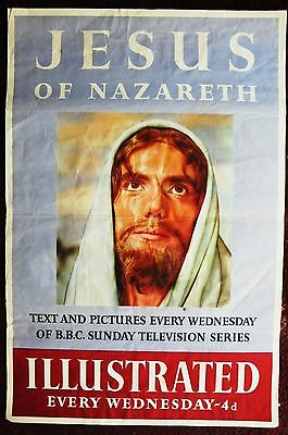 Original 1956 ILLUSTRATED magazine newsagents poster for BBC's JESUS OF NAZARETH
