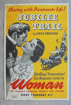 Original 1950s WOMAN magazine newsagents poster JUBILEE TRAIL by GWEN BRISTOW