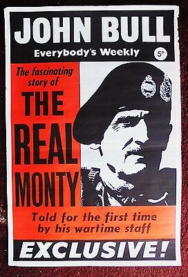 Original 1950s JOHN BULL magazine newsagents poster THE REAL MONTY (MONTGOMERY)