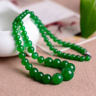 """New 6-14mm Natural Green Jade Round Beads Necklace 17""""*"""