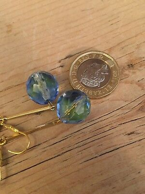 Art Deco vintage style Long blue/ green bicolour crystal glass earrings