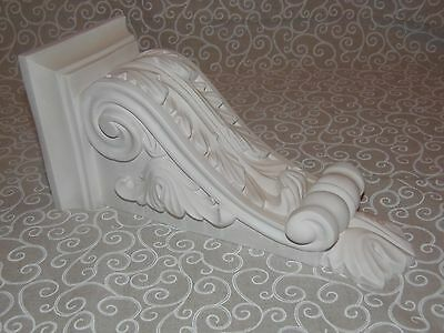 Pair Of Large Superb Detailed Scroll & Flute Acanthus Leaf Plaster Corbels