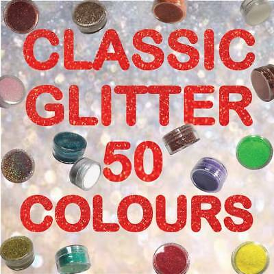 50 Classic Colours Fine Dust Glitter Temporary Tattoos, Body Art, Face Paint