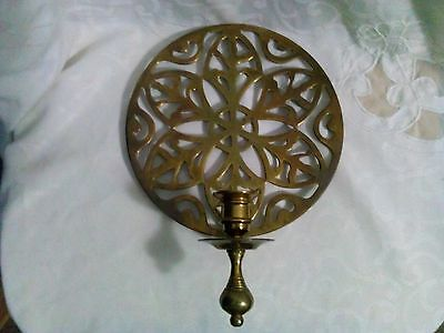 Vintage Intricate Brass Metal Candle Holder Wall Sconce Trivet