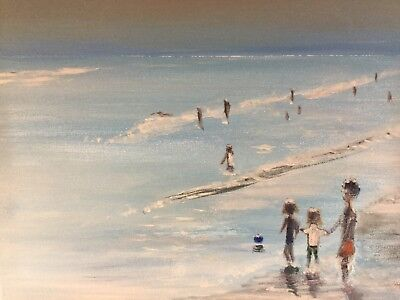 ORIGINAL (oil and acrylic) PAINTING OF A BEACH SCENE ON CANVAS by S Littlefield