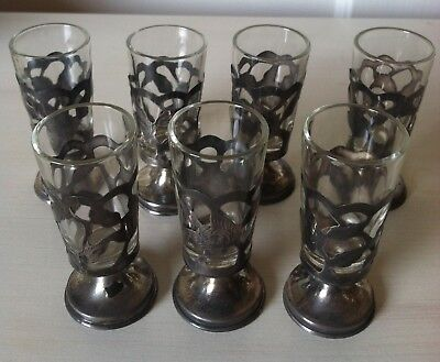 Vintage Sterling Silver Shot Glass Holders With Glass Inserts