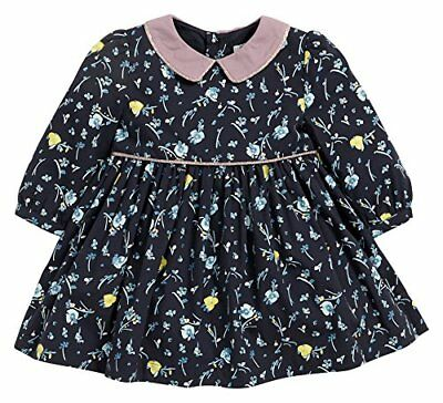 Mamas & Papas Mamas and Papas Long Sleeved Floral Print Dress Navy, (S5r)