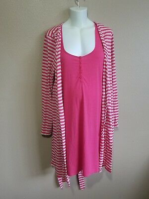 Motherhood Bump Nursing Night Gown And Gown Pink With Stripe Design Medium
