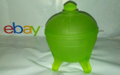 Vaseline Uranium Green Glass Frosted Greek Key Powder Jar 1930's - L.E.Taussaunt