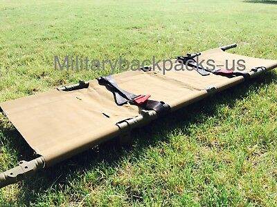 Mint USMC Coyote Brown Folding Evacuation Litter Stretcher Portable Medic First
