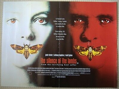 SILENCE OF THE LAMBS ('91) ORIGINAL ROLLED UK QUAD POSTER, Hopkins, Jodie Foster