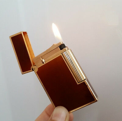 Original Lighter Dupont Line 2 Brown Laque Chine Gold Plated Luxe