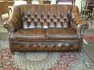 Divano due posti in pelle  chesterfield vintage originale inglese
