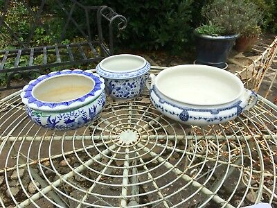 Job lot of asst china bowls with blue pattern. 3 different designs sold together