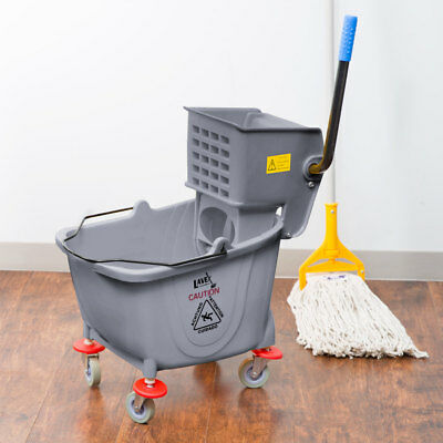 Janitorial Gray Plastic 36 Quart Mop Bucket & Wringer Combo