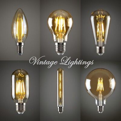 Vintage LED Filament Antique Style Industrial Edison Light Bulb E27 B22  4 Pack