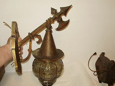 Antique- Tudor- Midevial- Spanish Revival Bronze/iron  Heavy! Porch Light Wall