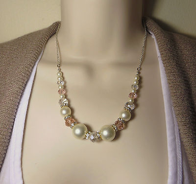 "Beautiful Crystal Bead Sparkly Showy Shimmery Necklace 18"" in Gift Box!"