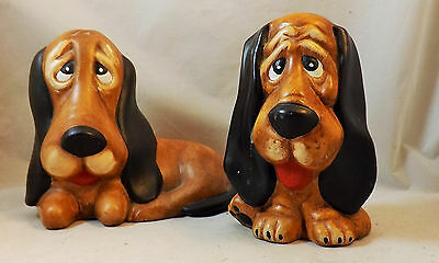 Hand Painted Basset Hound Ceramic Pottery Set Of 2 Dogs Adorable Pups