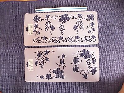 Stencil Set of Grapevine, Grapes Border, Corners, Wreath for Decorating Crafts