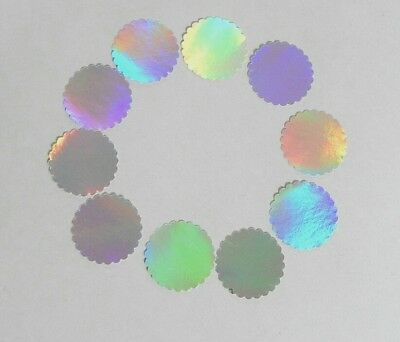 """10 Dot Labels Holographic 1.5"""" Self Adhesive Scalloped Round Circle Stickers"""