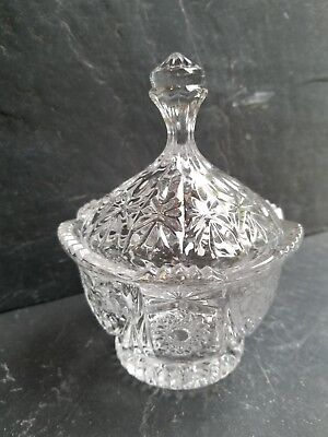 VINTAGE Cut Crystal Candy Dish/Jar with Lid. RARE star pattern.